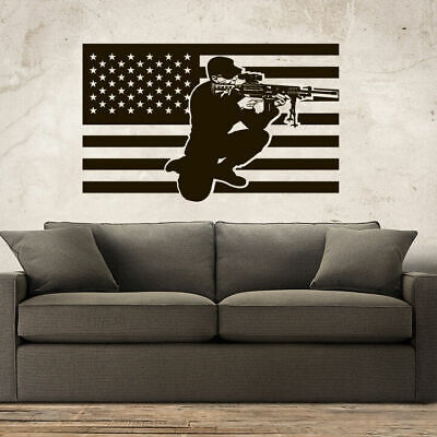 $27.99 • Buy Wall Decal Army Soldier Military Weapons American Flag Vest Room Nursery M1638