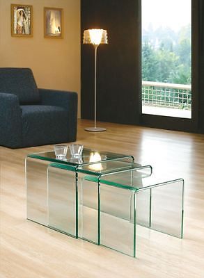 Clear Curved Glass Nest Of Tables Set Of 3 Milan Design • 109£