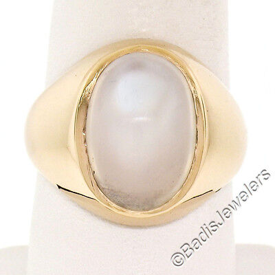 $1396 • Buy Men's 14K Yellow Gold Large Oval Bezel Blue Moonstone Solitaire Polished Ring