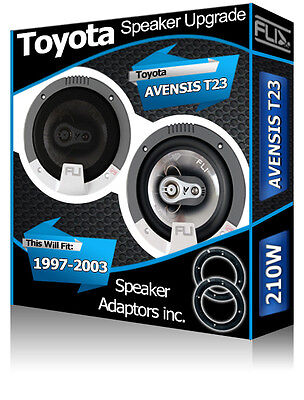 Toyota Avensis Front Door Speakers Fli Car Speakers + Speaker Adapter Pods 210W • 39.99£