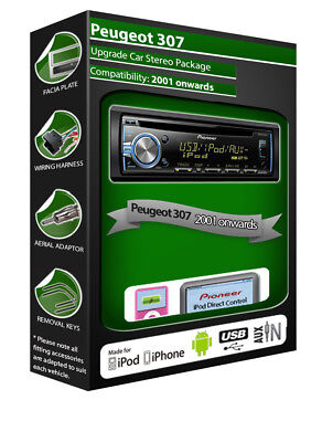 Peugeot 307 CD Player, Pioneer Headunit Plays IPod IPhone Android USB AUX • 84.99£