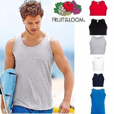 £5.95 • Buy 2, 5 Pack Mens Fruit Of The Loom Plain Athletic Vests Tank Top Gym Training Lot