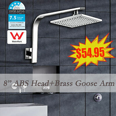 AU62.99 • Buy WELS 200mm ABS Square Rain Shower Head & Brass Gooseneck Wall Arm Set WATERMARK