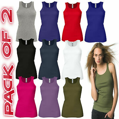 £7.99 • Buy Pack Of 2 Ladies Vest Womens Cotton Stretchy Ribbed T-shirt Cami Casual Tank Top