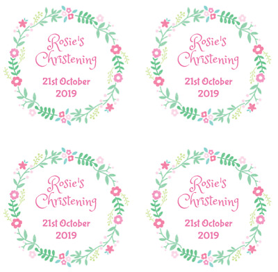 £3.15 • Buy 48 Round Personalised Christening Baptism Stickers - Flower Labels 63.5mm