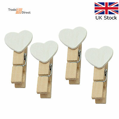 Mini Wooden Pegs With White Hearts Craft Wedding Hanging Photo Clips Wooden • 0.99£