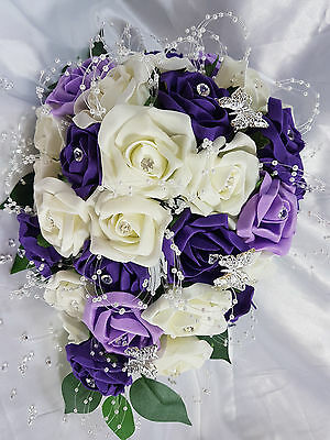 £1.99 • Buy Wedding Flowers Ivory Purple Lilac Brides Bridesmaids Bouquet Diamante Butterfly