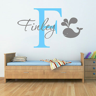 Personalised Name Whale Nautical Wall Sticker Two Tone Art Boys Childs Nursery • 11.99£