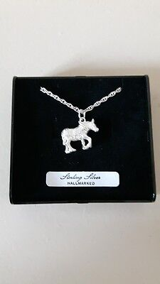 Shire Horse Necklace Solid Sterling Silver Hallmarked Equestrian Jewellery Gift • 22.50£