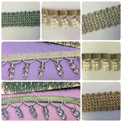 Designer Shaped Beaded Trim & Braid For Curtain Blind Bead Fringe Trimming • 2.29£