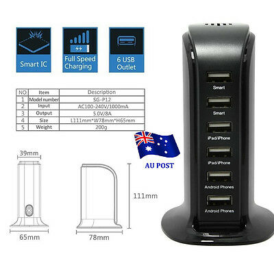 AU13.84 • Buy 30W 6A 6 Port Desktop USB Rapid Charger Station Wall HUB Charging Power Cable BO