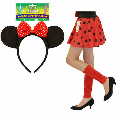 Kids Girls Minnie Mouse Costume Polka Dot Skirt Ear Band Bow Fancy Dress Party   • 6.99£