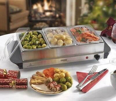 Cooks Professional Food Warmer Buffet Server Hot Plate 3 Tray Section Adjustable • 34.99£
