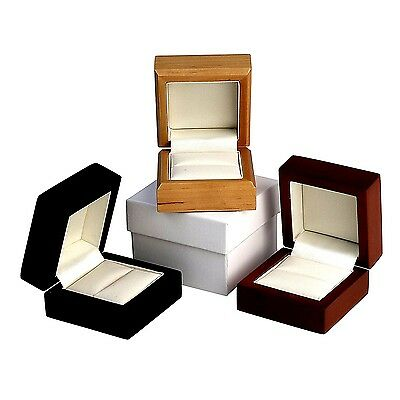 Wood Leather Ring Earring Box Leatherette Pendant Bracelet Wooden Necklace • 5.99£