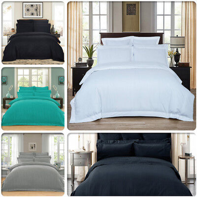 AU39.99 • Buy Striped 1000TC Luxury Duvet/Doona/Quilt Cover Set Queen/King/Super King Size Bed