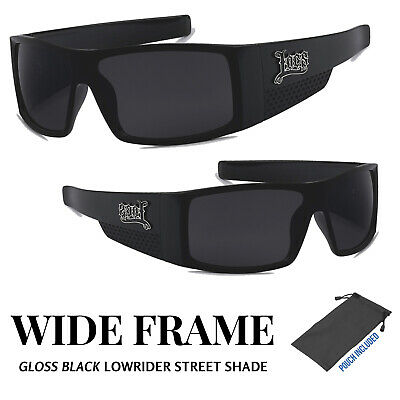 19c7b1f1909 Locs Mens Gangster Biker Lowrider Wide Frame   Temple Black Square  Sunglasses • 8.95