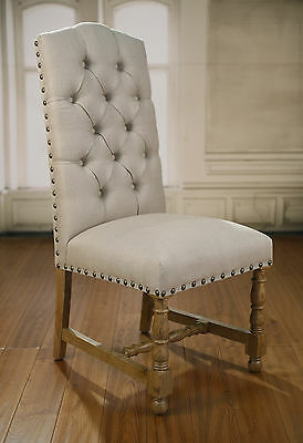 AU2094 • Buy 6 X Dining Chairs French Provincial USA Oak Button Bedroom Linen Upholstered