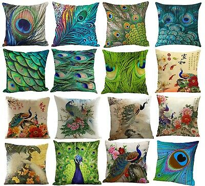 PEACOCKS & FEATHERS! Unusual Linen Cushion Covers Great Gift Idea! UK Seller • 9£