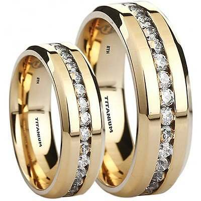 His And Hers Matching Gold Tone Titanium Wedding Engagement Couple Rings Set • 54.99£