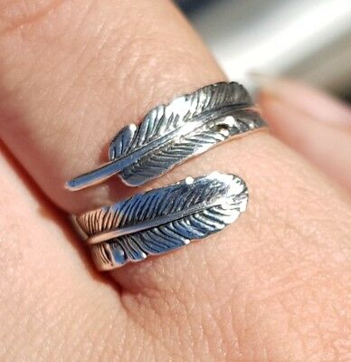 Feather 925 Sterling Silver Adjustable Ring Size L 1/2 To S Oxidized Angel  • 13.97£