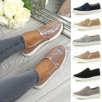 $ CDN26.28 • Buy Womens Ladies Flat Glitter Sparkly Slip On Casual Plimsoles Trainers Shoes Size