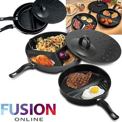 View Details Frying Pan Non Stick Divide Wonder Combo Divided Set Delicious Breakfast 3 In 1 • 8.29£