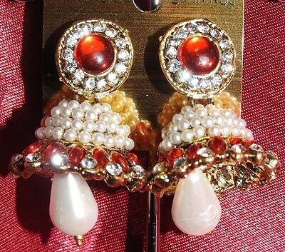 AU14.90 • Buy NEW Bollywood Gimmiki Indian Designer White Pearl Earrings Gold Jhumka Red M19