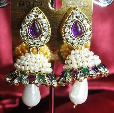 AU14.90 • Buy NEW Bollywood Gimmiki Indian White Pearl Earrings Gold Jhumka Purple Green M20