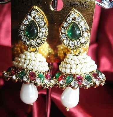 AU14.90 • Buy NEW Bollywood Gimmiki Indian White Pearl Earrings Gold Jhumka Pink Green M23