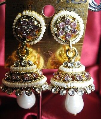 AU14.90 • Buy NEW Bollywood Gimmiki Indian White Pearl Earrings Gold Jhumka Pink Purple M26
