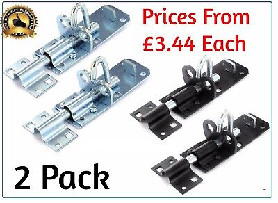 2 X BRENTON PAD BOLT Gate LOCK  Slide Bolt Shed Door BOLT Black, Zinc 4  6  8   • 7.88£