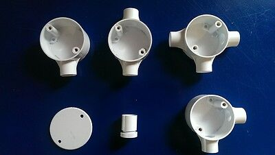 £2.50 • Buy White 20mm Plastic Conduit Boxes Accessories Electrical Junction Boxes.