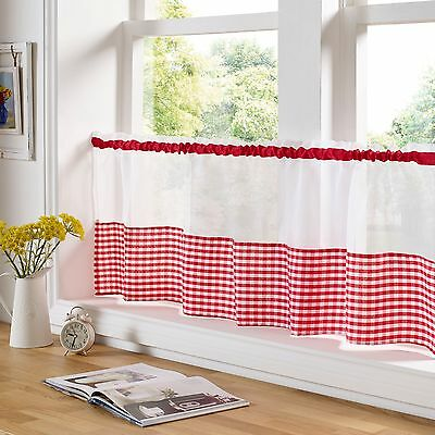 £6.94 • Buy Gingham Voile  Cafe Curtain Panel, 6 Fabulous Colours, 2 Sizes,