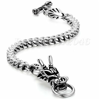 Punk Mens Stainless Steel Dragon Biker Link Franco Chain Bangle Bracelet 9.4  • 16.31£