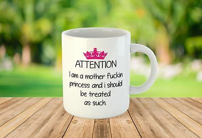 Attention Princess Funny Novelty Mugs Tea Coffee Personalised • 6.99£