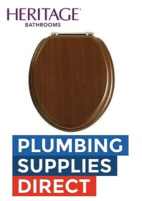 Heritage - Toilet Seat Walnut With Chrome Hinges - Soft Close GW101SA • 76.50£