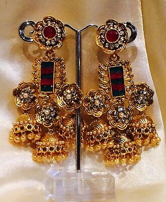 AU19 • Buy Bollywood Gimmiki Indian Designer Earrings Gold Pearls Jhumka Red Green F36
