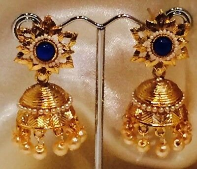 AU15 • Buy Bollywood Gimmiki Indian Designer Earrings Gold Pearls Jhumka Blue White F45