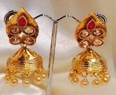 AU15 • Buy Bollywood Gimmiki Indian Designer Earrings Gold Pearls Jhumka Pink Red White F46