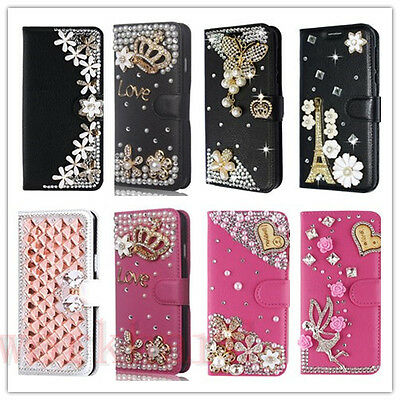 $ CDN12.95 • Buy Leather Flip Bling Rhinestone Diamond Wallet Case Girl Cover For IPhone/Samsung