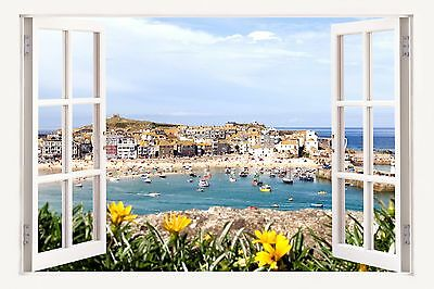 £19.99 • Buy 3D Window Effect On Canvas St Ives Harbour Cornwall Boats Picture Wall Art Print
