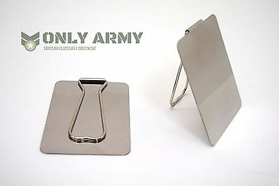 £9.99 • Buy 2 X Italian Army Mirror Polished Stainless Steel Tough Mirror Military Camping