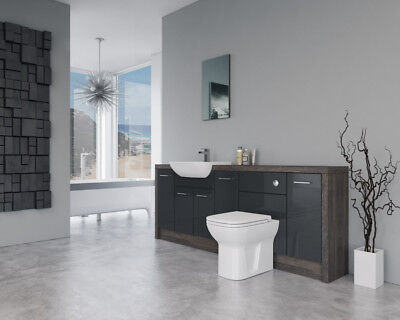 Bathroom Fitted Furniture 2100mm Anthracite Gloss / Mali Wenge D2 - Bathcabz • 895£