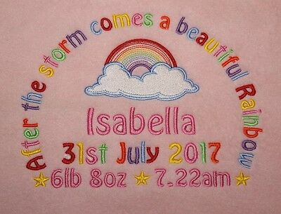Personalised Rainbow Baby Fleece Blanket Name Date Weight And Time Choose Colour • 12.99£
