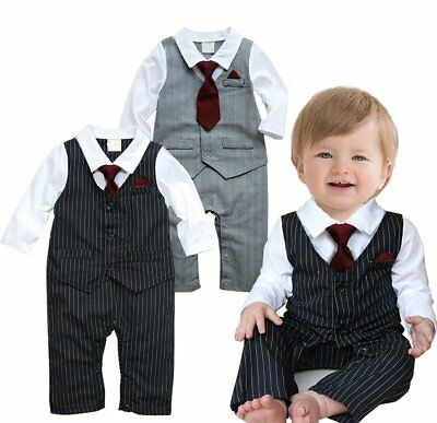 AU21.99 • Buy Baby Boy Wedding Christening Formal Tuxedo Suit One Piece Romper Outfit Clothes
