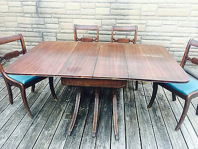 $520 • Buy REDUCED PRICE Duncan Phyfe Mahogany Drop Leaf Triple Pedestal Dining Table Set