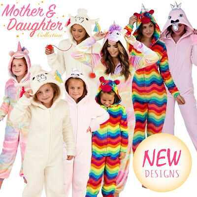 1Onesie Mother Daughter Sister Family Matching Fleece All In One Pyjama Set New • 15.97£