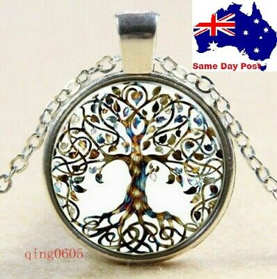 AU5.56 • Buy Vintage Tree Of Life Glass Cabochon Pendant Silver Chain Necklace Jewellery Gift