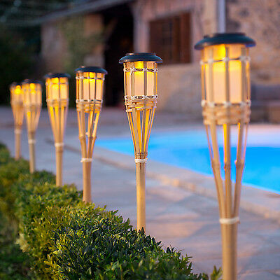 £15.99 • Buy Pair Of Solar Powered Outdoor Bamboo Torch LED Garden Party Border Stake Lights