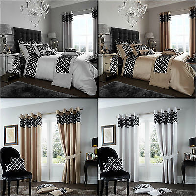 Luxury Shiny Lace Style Duvet Cover Sets / Fully Lined Curtains / Cushion Covers • 17.90£